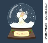 christmas snow globe with angel ... | Shutterstock . vector #1228061860