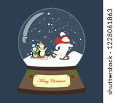 christmas snow globe on the... | Shutterstock . vector #1228061863