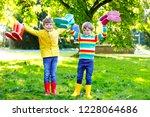 two little kids boys  cute... | Shutterstock . vector #1228064686