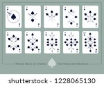 deck of spades. from ace to ten ... | Shutterstock .eps vector #1228065130