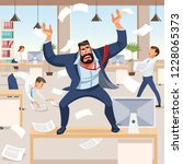 angry boss screams in chaos at...   Shutterstock .eps vector #1228065373