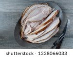 cooked whole turkey with slices ... | Shutterstock . vector #1228066033