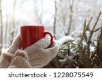 red mug in hands dressed in... | Shutterstock . vector #1228075549