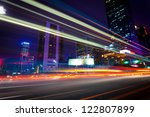 light trails on the modern city ... | Shutterstock . vector #122807899