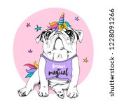 adorable puppy pug in a bright... | Shutterstock .eps vector #1228091266