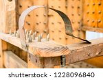 old wooden chair with spikes... | Shutterstock . vector #1228096840