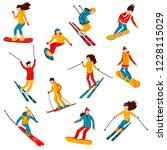 vector skiers and snowboarders... | Shutterstock .eps vector #1228115029