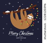 cute sloth christmas greeting... | Shutterstock .eps vector #1228120396