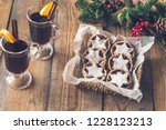 mince pies with mulled wine | Shutterstock . vector #1228123213