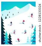 winter landscape  flat vector... | Shutterstock .eps vector #1228133326