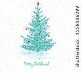 festive greeting card. fir tree ... | Shutterstock .eps vector #1228136299