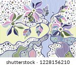 vector hand drawn colorful... | Shutterstock .eps vector #1228156210