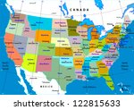 colorful usa map with states... | Shutterstock .eps vector #122815633