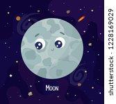 cute cartoon moon character.... | Shutterstock .eps vector #1228169029