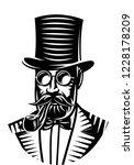vector monochrome illustration... | Shutterstock .eps vector #1228178209
