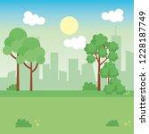 landscape park scene icon | Shutterstock .eps vector #1228187749