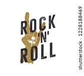 vintage hand drawn rock n roll... | Shutterstock .eps vector #1228188469