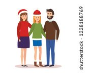 parents couple with daughter... | Shutterstock .eps vector #1228188769