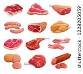 cartoon meat set. pork  beef... | Shutterstock .eps vector #1228205059