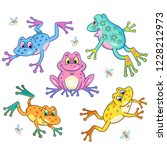 round dance of funny colorful... | Shutterstock .eps vector #1228212973