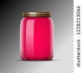 glass jars with jam vector... | Shutterstock .eps vector #1228213066