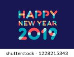 happy new year 2019 greeting... | Shutterstock . vector #1228215343