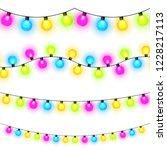 christmas lights on white... | Shutterstock .eps vector #1228217113