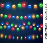 christmas lights. colorful... | Shutterstock .eps vector #1228217116