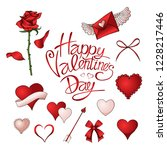 red roses  hearts and other... | Shutterstock .eps vector #1228217446