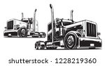 tractor unit. black and white...   Shutterstock .eps vector #1228219360