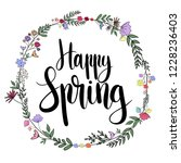 happy spring hand drawn vector... | Shutterstock .eps vector #1228236403
