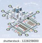 winter christmas landscape... | Shutterstock .eps vector #1228258000