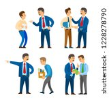 boss angry with worker  sacked...   Shutterstock .eps vector #1228278790