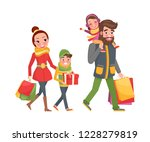 couple and children with bags... | Shutterstock .eps vector #1228279819