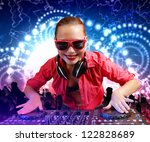 dj with a mixer equipment to... | Shutterstock . vector #122828689