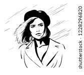 girl with berret hat. black and ... | Shutterstock .eps vector #1228296820