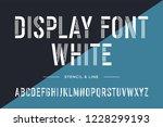 stencil line font. condensed... | Shutterstock . vector #1228299193