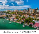 Aerial view of city salvador Elavator lacerda in bahia brazil