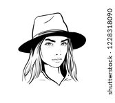 girl with hat. black and white... | Shutterstock .eps vector #1228318090