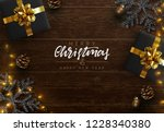 christmas composition on wooden ... | Shutterstock .eps vector #1228340380