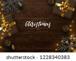 christmas composition on wooden ... | Shutterstock .eps vector #1228340383