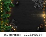 christmas composition on wooden ... | Shutterstock .eps vector #1228340389