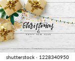 christmas composition on wooden ... | Shutterstock .eps vector #1228340950
