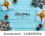 christmas composition on wooden ... | Shutterstock .eps vector #1228340956