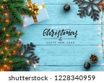 christmas composition on wooden ... | Shutterstock .eps vector #1228340959