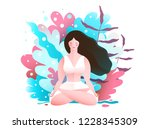 woman in nature sitting in... | Shutterstock .eps vector #1228345309