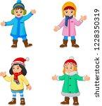 cartoon little girls wearing... | Shutterstock .eps vector #1228350319