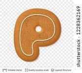 gingerbread letter p symbol... | Shutterstock .eps vector #1228362169