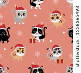 cute cat in christmas hat... | Shutterstock .eps vector #1228365493