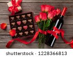 valentines day with red roses ... | Shutterstock . vector #1228366813